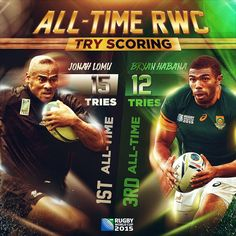 Bryan Habana is tries short of Jonah Lomu's try record. Will he get closer having been named in squad for their match with Jonah Lomu, All Blacks, Rugby World Cup, All About Time, Sports, Infographics, Closer, Squad, Usa