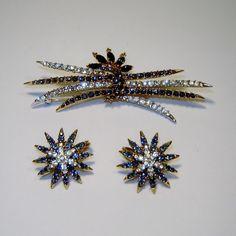 Vintage Trifari Blue Rhinestone Starflight Brooch Earrings 1966 Fireworks AD