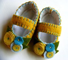 Color Pop Felt Baby Shoes  Mustard and by ShesSoCraftyGoods1. , via Etsy.