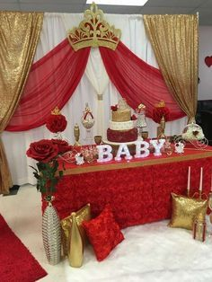 Royal Rose Baby Shower | CatchMyParty.com Baby Shower Gender Reveal, Baby Girl Shower Themes, Fiesta Baby Shower, Baby Boy Shower, Baby Shower Decorations, Baby Shower Gifts, Baby Shower Backdrop, King Baby, Gold Baby Showers