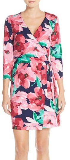 Charles Henry Print Jersey Wrap Dress