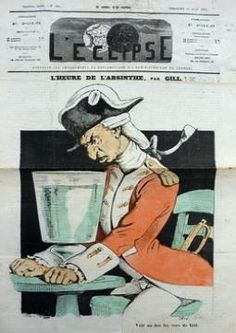 Very rare issue of L'Eclipse - dated June 21st 1874 -   with the famous sketch by André Gill showing a big   absinthe glass. The newspaper is torn on different   places but the sketch itself didn't suffer with time.