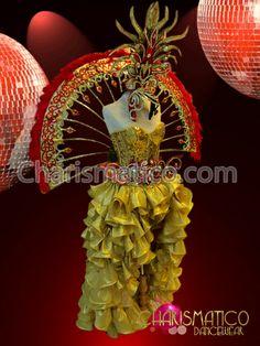 Charismatico Dancewear Store - CHARISMATICO Diva's Metallic gold ruffle skirt, sequin corset, Backpack and headdress, $699.00 (http://www.charismatico-dancewear.com/products/Diva's-Metallic-gold-ruffle-skirt,-sequin-corset,-Backpack-and-headdress.html)