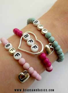 BFF Bracelet - Best friends Bracelet -  Pink and blue with heart - DIY + Materials to make your own at   www.beadsandbasics.com