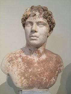 Male portrait bust. Thasian marble. Found at Phleious, Peloponnese. Time of the emperor Hadrian (AD 117-138).
