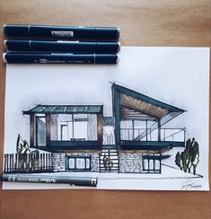 --- Silver House visualized by Hyde + Hyde Studio Architects, Peninsula . Interior Architecture Drawing, Architect Sketchbook, Architecture Drawing Sketchbooks, Architecture Concept Drawings, Architect Drawing, Architecture Magazines, Lego Architecture, Perspective Architecture, Architecture Definition