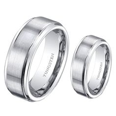 (2) Ring Set 8mm His and 6mm Hers Matte Stepedge Tungsten Carbide Engagement Wedding Bands >>> Awesome product. Click the image : Jewelry Bridal Sets
