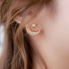 star with crescent two way earrings by dose of rose | notonthehighstreet.com