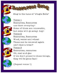 I love using songs and poems to help my students remember important concepts. This is a song that helps differentiate between renewable and non-renewable resources.