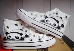 Favorite white panda style s Hand Painted Shoes/boys and girl shoes