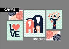 Coral Peach Mint and Navy Nursery canvas art by babyartprints