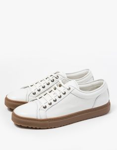 From ETQ Amsterdam, a classic skate-style leather low top in Off White