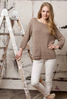 Beautiful Beige Pullover in Lang Yarns Lino. Find this pattern and more jumper inspiration at LoveKnitting. Crochet Yarn, Knitting Yarn, Free Knitting, Baby Knitting, Knitting Needles, Rowan, Lang Yarns, Dress Gloves, Paintbox Yarn