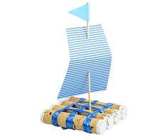 #Korken #Schiff 4 x 3 Korken mit der flachen Seite aneinanderkleben - Acrylkleber oder Heißkleber verwenden; danach mit Kunstbast die vier Reihen Korken aneinanderbinden. Damit in der Mitte ein Raster entsteht, ab den Schnüren das Gleiche im 90° Winkel wiederholen. Die Enden der Korken mit weißer Farbe  bemalen. Anschließend ein Segel zurechtschneiden - Pünktchen, Streifen- oder Karokarton verwenden. Diesen dann durch einen Holzspieß in die Mitte des Floßes stecken. #Betzold
