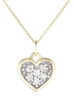 "KC Designs ""Peace and Love"" 14K Gold Diamond Heart Pendant Necklace, 16"", ""diamond heart pendant gold"""