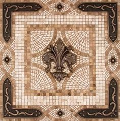 Fleur de Lis Mosaic Tile Medallion from Linda Paul Studio mediterranean kitchen tile