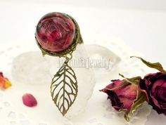 Flower Resin Ring Real Rose Ring Dried Flower by LaTaniaJewelry