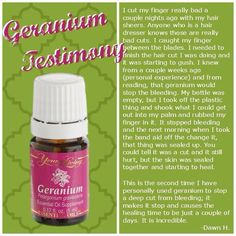 Geranium young living essential oil testimony - stops bleeding on cuts