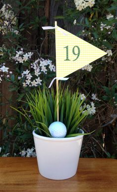 Golf Flag Centerpiece for the 19th Hole by jacolynmurphy on Etsy, $8.00