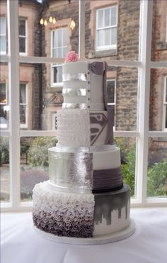 Half and Half cake Grey wedding cake Silver leaf cake  Ruffles cake Superhero cake