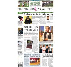 The front page of the Taunton Daily Gazette for Tuesday, Oct. 28, 2014.