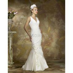 Timeless V-neck Court Train Taffeta Fabric Wedding Dress