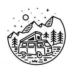 Van Adventure Mountain Line Graphic Illustration Vector Art T-shirt Design Easy Doodles Drawings, Mini Drawings, Art Drawings Sketches Simple, Illustration Vector, Graphic Design Illustration, Vector Art, Dibujos Tumblr A Color, Doodle Art, Logo Design