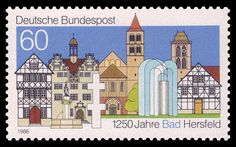 1250 years of Bad Hersfeld German Stamps, Cities In Germany, Going Postal, Joy Of Living, Soul Searching, Small Art, Postage Stamps, Poster, History