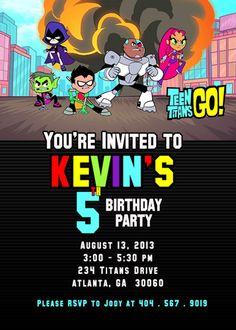 Teen Titans Go Birthday Invitation - Custom, Printable, Invitation