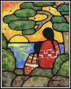 First Nation artwork inspiration - Ayla Bouvette - Metis Art - Women at Sunset American Indian Art, Native American Art, Mexican Paintings, Indian Paintings, Abstract Paintings, Art Paintings, Native American Paintings, Southwestern Art, Inuit Art