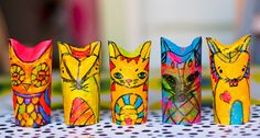Paper tube animals. (See the original link in the post for more creative ideas . . . )