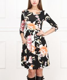 Look what I found on #zulily! Black & Pink Floral Fit & Flare Dress - Women #zulilyfinds