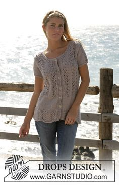 "DROPS cardigan with short sleeves knitted in lace pattern with ""Silke-Alpaca"". ~ DROPS Design"