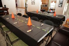Construction Birthday Party Idea - this could be super easy with black tablecloths and masking tape
