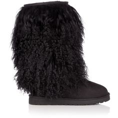 UGG Australia Black Mongolian Sheepskin Tall Boot ($276) ❤ liked on Polyvore featuring shoes, boots, uggs, women, black boots, slip on boots, tall sheepskin boots, tall boots and high boots