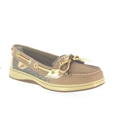 SPERRY ANGELFISH LINEN/GOLD DAMASK FLORAL WOMENS BOAT SHOES Size 5 M
