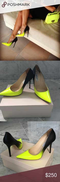 🎉Host Pick!🎉 Ombré Jimmy Choo Pump 🎉Host Pick🎉 Neon Green and Black Jimmy Choo Pump! Lightly used (3 times wear). Perfect with skinny jeans, pencil skirt, gauchos or just about anything you style them with. Sure statement piece! Jimmy Choo Shoes Heels