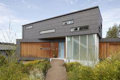Ext cladding: inexpensive concrete fiberboard (used in Seattle climate)  Ballard Cut / Prentiss Architects