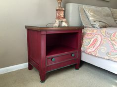Finished two vintage Drexel modern French Provencial nightstands with Annie Sloan Burgundy and Florence paint, waxed both light and dark.