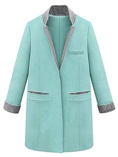 Top Quality Green Contrast Color Long Sleeve Stand Collar Padded Woolen Coat Deals Save