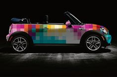 Mini Cooper car wraps by The Cool Hunter. Car wrap design print designation covering pixel grid raster