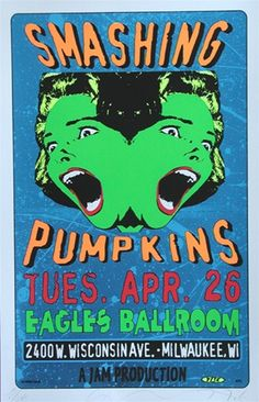 Taz Smashing Pumpkins Original Rock Concert Poster - ☮ Music ~ Classic Rock - Smashing Pumpkins Original Classic rock music concert psychedelic poster ~ ☮~ღ~*~*✿⊱ レ o - The Smashing Pumpkins, Tour Posters, Band Posters, Film Posters, Vintage Concert Posters, Vintage Posters, Vintage Movies, Music Background, Concert Rock