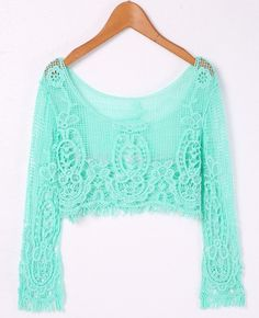 Novo 2015 Sexy Lace manga comprida Crochet cortar Tops verão Floral oco Out  mulheres Cropped Tops 59932e2ca