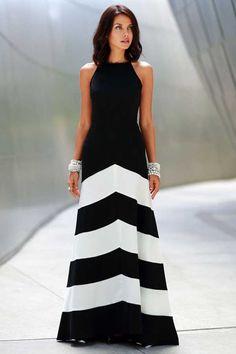 Black+White+Chiffon+Stripe+Sleeveless+Maxi+Casual+Dress+#Black+#Dress+#maykool