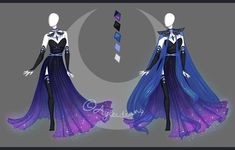 CLOSED Fashion adoptable auction ~ Lunar outfit by ayleidian - Frauen Haar Modelle Dress Drawing, Drawing Clothes, Fashion Design Drawings, Fashion Sketches, Anime Outfits, Cool Outfits, Moda Medieval, Arte Fashion, Nightmare Moon