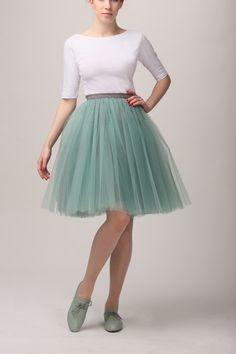 Grey & mint tutu tulle skirt