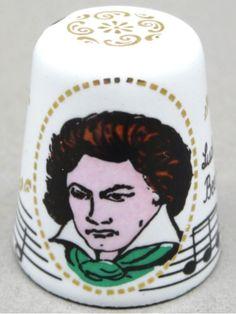 Ludwig van Beethoven. 5 Synfonie. Enameled copper. Steinböck. Austrian. Thimble-Dedal-Fingerhut. Finger, Ludwig, Composers, Scissors, Austria, Vintage Antiques, German, Enamel, Sewing