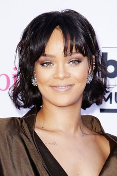 Piece-y bangs and textured locks? Clearly Rihanna has mastered the effortless bob.  #refinery29 http://www.refinery29.com/cool-short-haircut-pictures#slide-1