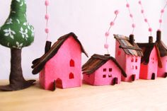 Miniature. Pink small Village Five Felt houses with by Intres