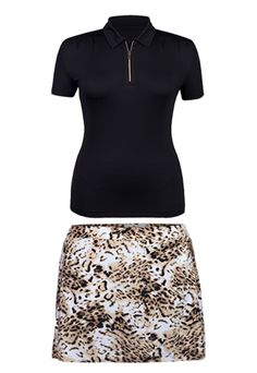 Gold Rush Tail Ladies Black & Lynx Foil Print Golf Outfit at #LorisGolfShoppe